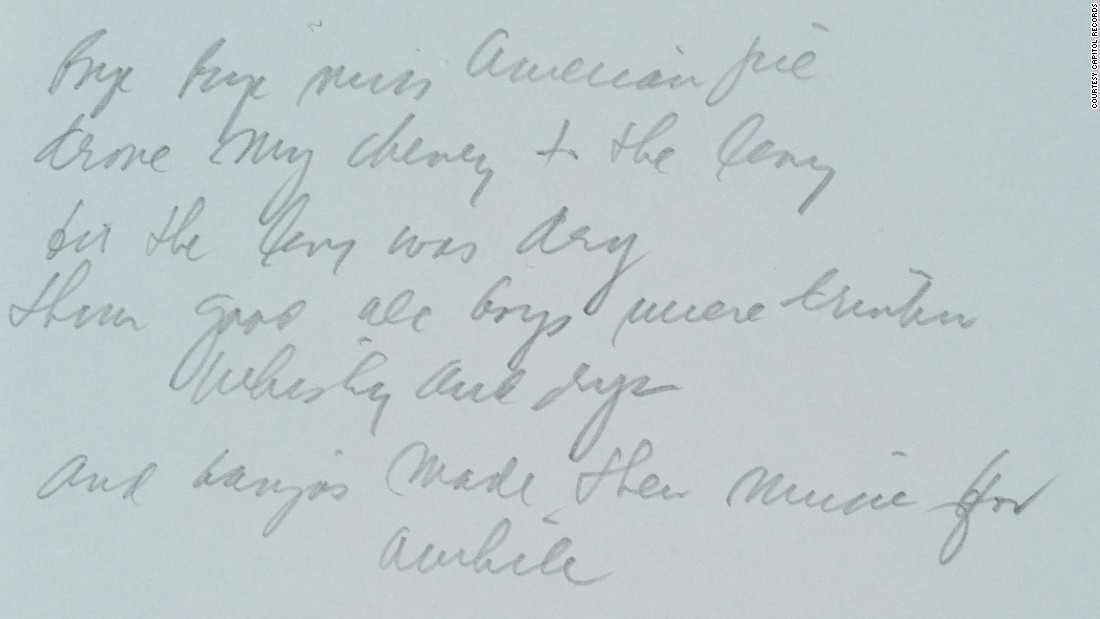 American Pie' lyrics sell for $1.2 million - CNN