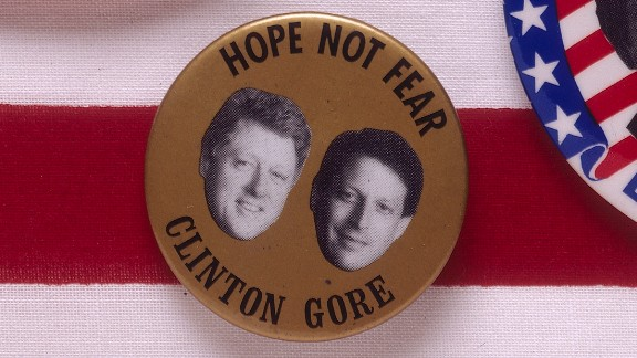 """A badge for the 1992 presidential election features Democratic candidates Bill Clinton and Al Gore with the slogan """"Hope not fear."""""""