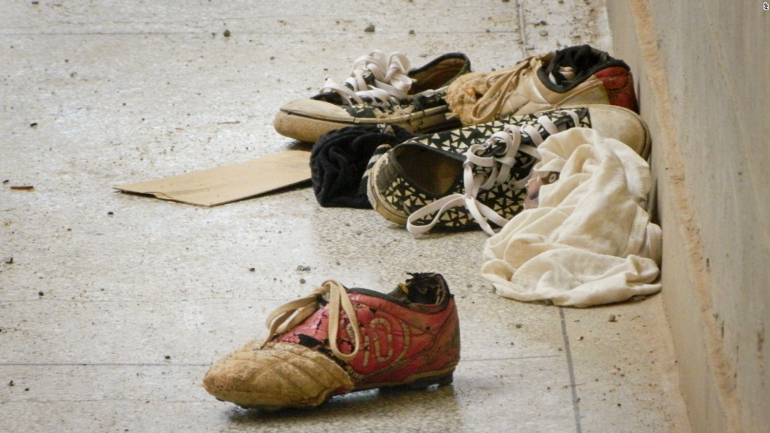 Abandoned shoes remain at the scene of the attack on April 6, 2015.