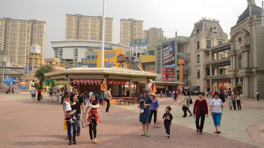 "Once labeled a ""ghost town,"" the New South China Mall sees a steady stream of visitors on a recent Saturday."