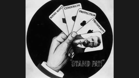 """A campaign poster supporting the re-election of President Theodore Roosevelt stresses his policies of sound money, expansion, protection and prosperity. Roosevelt, who assumed the presidency when President William McKinley was assassinated in 1901, used the slogan, """"Stand pat!"""""""