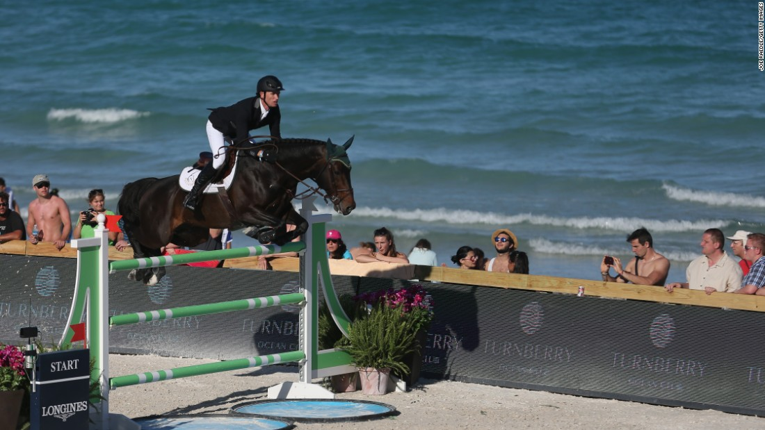 Here's Irish rider Richie Moloney competing against a backdrop of the Atlantic Ocean in the Longines Global Champions Tour 2017 season.