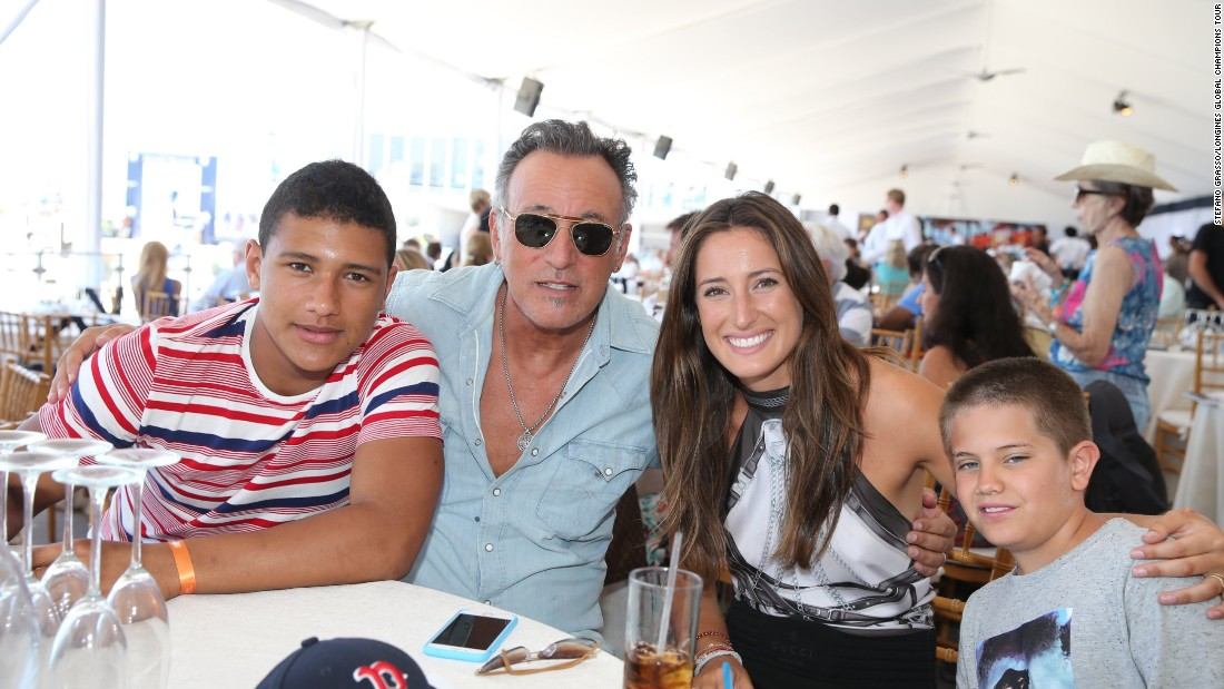 Jessica Springsteen and father Bruce pose in one of the luxury tents at the Global Champions Tour in Miami.