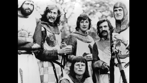 """Graham Chapman, Eric Idle, Terry Gilliam, Michael Palin, Terry Jones and John Cleese in a scene from """"Monty Python And The Holy Grail"""" (1975)."""