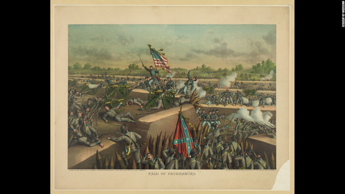 On April 2, Union forces broke through Confederate lines at Petersburg, ending a nine-month siege.