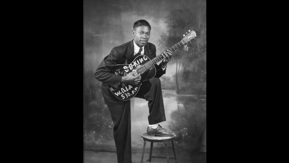 Blues legend B.B. King plays guitar on stage in this undated photograph. King died Thursday, May 14, in Las Vegas, according to his daughter Patty King. Two weeks earlier, it was announced that King was in home hospice care after suffering from dehydration. He was 89. Here, a young King poses for a portrait circa 1948.