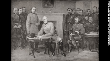 The Surrender Of General Lee To General Grant At Appomattox Courthouse, Virginia, America In 1865, Thereby Ending The American Civil War. From Famous Men And Great Events Of The 19Th Century.