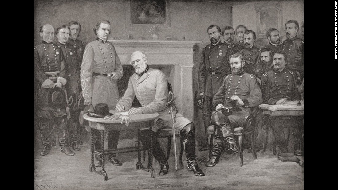 Lee surrenders to grant at appomattox courthouse virginia on april 9 1865
