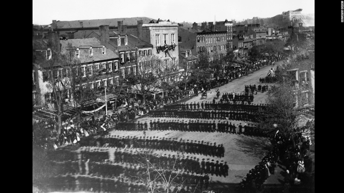 Part of the procession on April 19, 1865, which accompanied Lincoln's body from the White House to the Capitol Building in Washington.