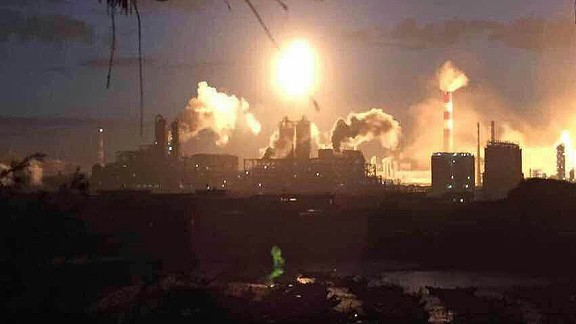 A major fire engulfs a chemical plant after an explosion in southeast China's Fujian province on April 6.