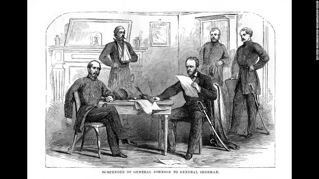 Confederate Gen. Joseph Eggleston Johnston surrenders his army to Union Gen. William T. Sherman on April 26, 1865, on the same terms that Grant had given Lee.