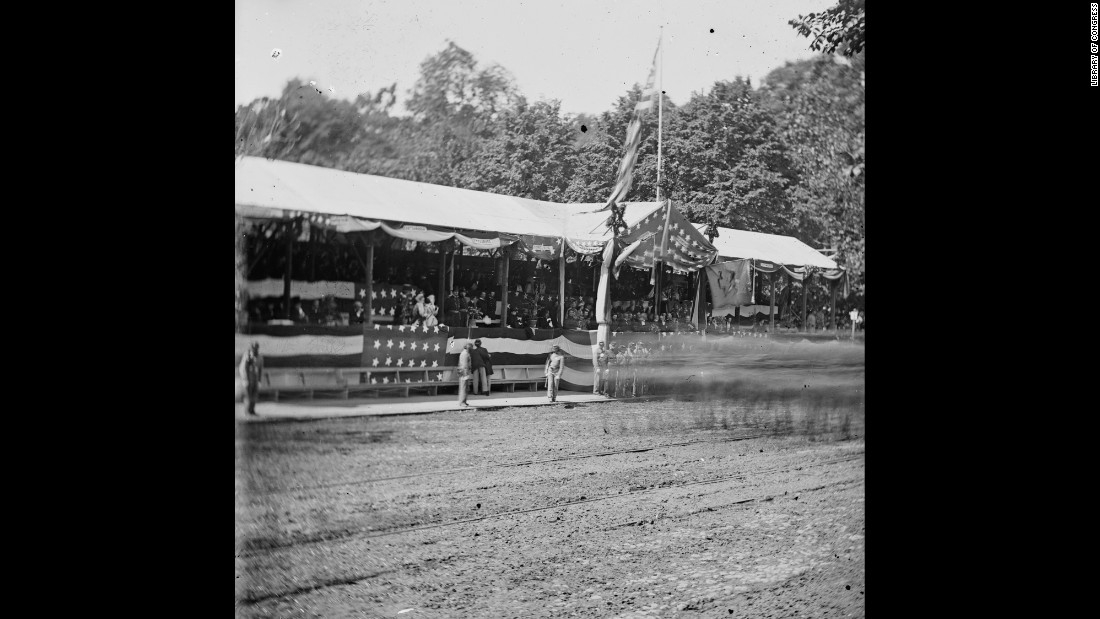 The presidential reviewing stand in Washington at the Grand Review of the Army after the end of the war.