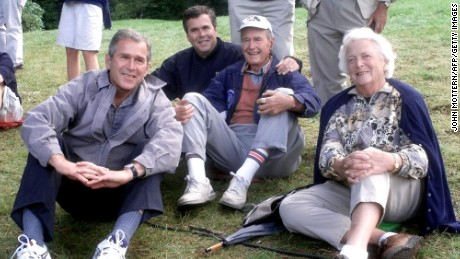 George H.W. Bush was elected president in 1988, and his son George W. Bush was elected in 2000. Now, the son of the 41st president and the brother of the 43rd, former Florida Gov. Jeb Bush, is campaigning to become the nation's 45th president. Pictured from left to right, George W. Bush, Jeb Bush, George H. W. Bush and Barbara Bush.