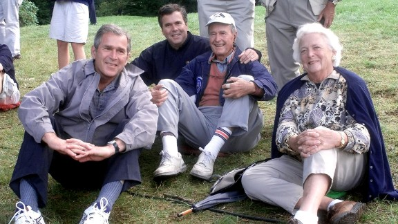 George H.W. Bush was elected president in 1988, and his son George W. Bush was elected in 2000. Now, the son of the 41st president and the brother of the 43rd, former Florida Gov. Jeb Bush, is exploring a run to become the nation's 45th president. Pictured from left to right, George W. Bush, Jeb Bush, George H.W. Bush and Barbara Bush take a load off their feet.