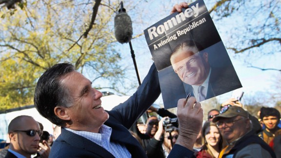 Mitt Romney wasn't the first member of his family to run for the White House when he became the GOP nominee to take on President Barack Obama in 2012. His father, former Michigan Gov. George Romney, was a serious contender who ultimately fell short of nabbing the Republican nomination in 1968. Pictured is Mitt Romney holding a sign featuring his father, George Romney.