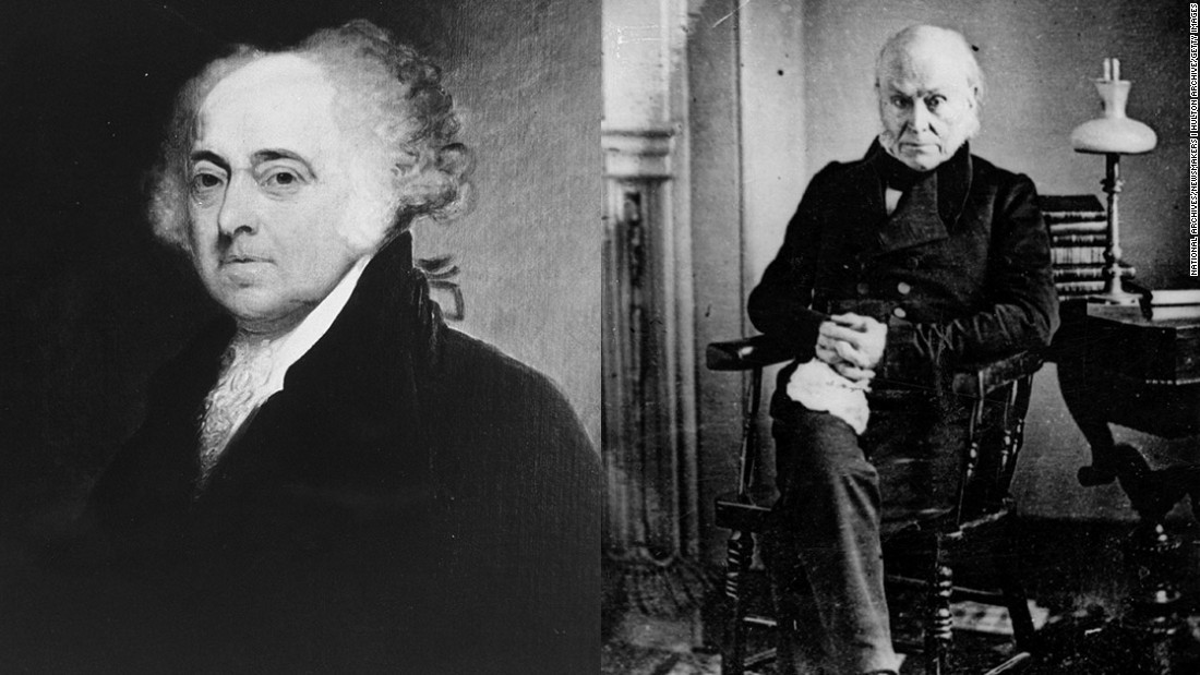 The first father and son to each win the presidency was John Adams (left), one of the nation's Founding Fathers and the second president, and his son John Quincy Adams, who was America's sixth president.