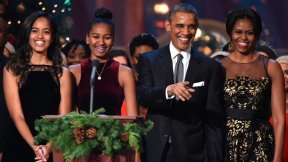 "The first family takes the stage during a taping of the ""Christmas in Washington"" program in December 2014."