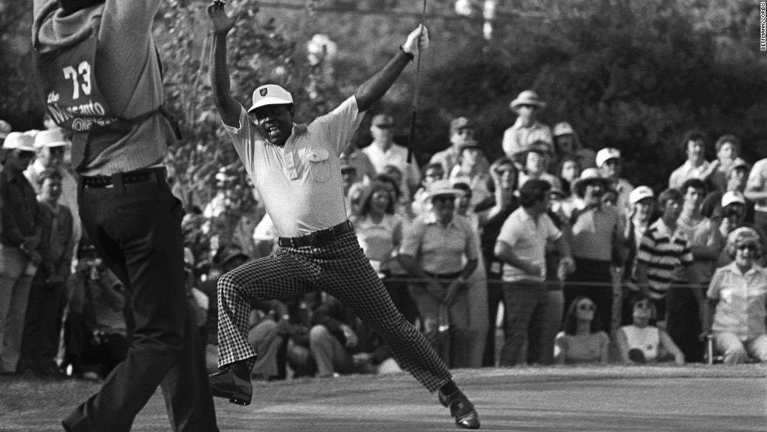 Elder qualified for the Masters by winning the Monsanto Open in Pensacola, Florida. It had extra significance given that Elder had vowed never to play in the tournament again after being denied entry to the clubhouse on a previous playing visit. Here he celebrates holing the winning putt in a playoff, after which he needed a police escort back to the clubhouse.