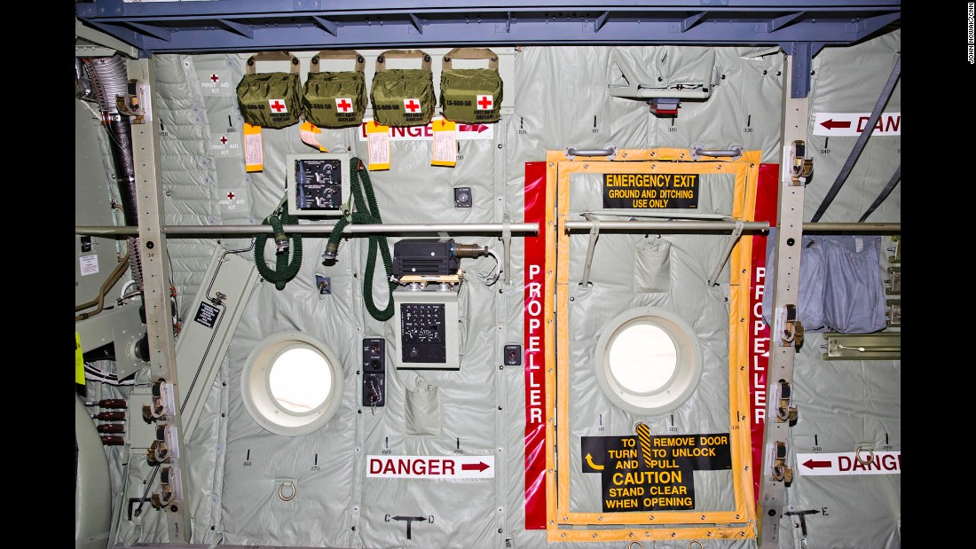 An emergency exit inside the cargo hold of the MC-130J.