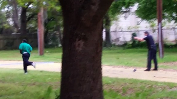 This photo from the family of Walter Scott shows ex-police officer Michael Slager readying to shoot Scott.