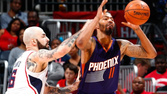 Pero Antic, left, defends an opponent Tuesday.