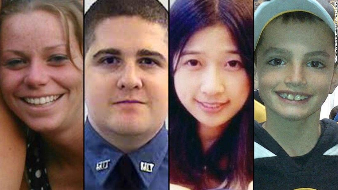 Three people were killed when two homemade explosives went off at the Boston Marathon on April 15, 2013, and a campus police officer at the Massachusetts Institute of Technology was fatally shot in the manhunt that followed. From left, the victims were Krystle Campbell, Sean Collier, Lingzi Lu and Martin Richard. Click through the gallery to see how the victims were honored and remembered in the weeks after the terror attack.