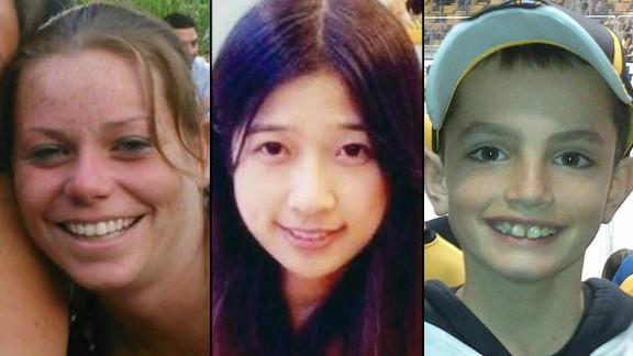 From left, Boston Marathon bombing victims Krystle Campbell, Lingzi Lu and Martin Richard.