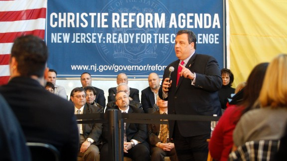 Christie speaks at a Reform Agenda Town Hall meeting at the New Jersey Manufacturers Insurance Company facility on March 29, 2011, in Hammonton, New Jersey.