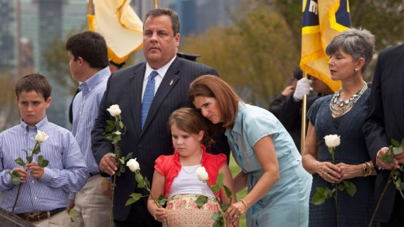 Christie is flanked by his wife and their children as they attend the dedication of Empty Sky, a 9/11 memorial in Jersey City, New Jersey, in September 2011.