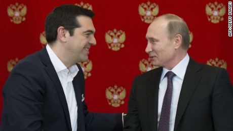 Greek Prime Minister Alexis Tsipras (L) shakes hands with Russian President Vladimir Putin during a signing ceremony at the Kremlin in Moscow on April 8, 2015. AFP PHOTO / POOL / ALEXANDER ZEMLIANICHENKOALEXANDER ZEMLIANICHENKO/AFP/Getty Images