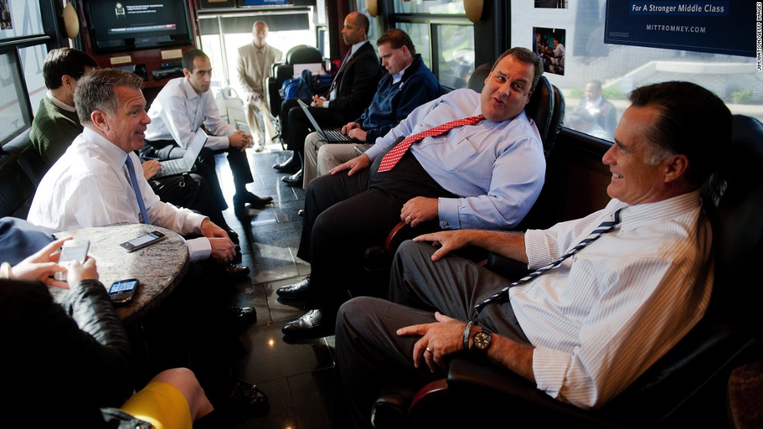 Christie talks to Mitt Romney aboard Romney's campaign bus in October 2012. He was among those vetted to be Romney's running mate, but Romney went with US Rep. Paul Ryan.
