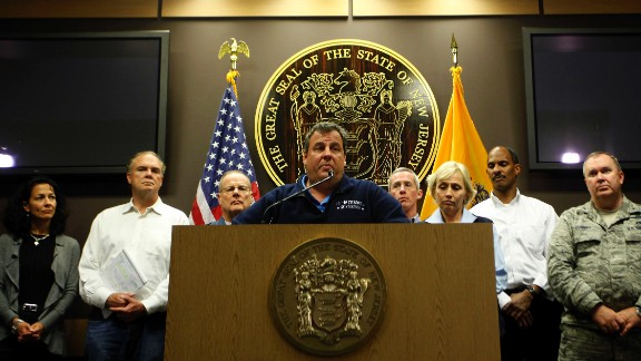 Christie updates members of the media on damage and recovery efforts related to Superstorm Sandy on October 30, 2012, from the emergency operations center at State Police Headquarters in Ewing, New Jersey.