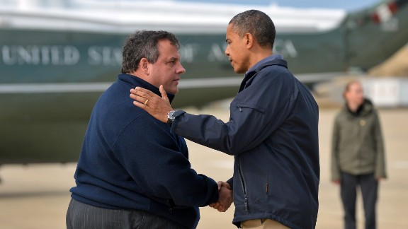 "Christie greets President Barack Obama, who arrived in New Jersey to visit areas hit by Hurricane Sandy. The two toured devastated beach towns together. ""I think the people of New Jersey recognize that (Christie) has put his heart and soul into making sure that the people of New Jersey bounce back even stronger than before. I want to thank him for his extraordinary leadership and partnership,"" Obama said."