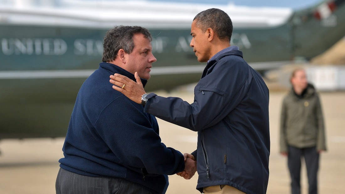 "Christie greets President Barack Obama, who arrived in New Jersey to visit areas hit by Hurricane Sandy. The two <a href=""http://politicalticker.blogs.cnn.com/2012/10/31/obama-takes-in-damage-with-christie-in-new-jersey/"" target=""_blank"">toured devastated beach towns</a> together. ""I think the people of New Jersey recognize that (Christie) has put his heart and soul into making sure that the people of New Jersey bounce back even stronger than before. I want to thank him for his extraordinary leadership and partnership,"" Obama said."