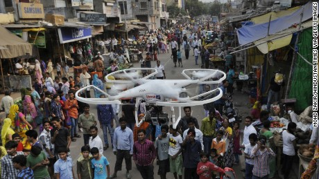 Delhi Police deployed camera-equipped drones for surveillance in riot affected areas of Trilokpuri on October 28, 2014 in New Delhi, India. The prohibitory orders on gathering and movement of people imposed in East Delhi Trilokpuri area following a communal clash were relaxed for three hours as no fresh violence was reported.