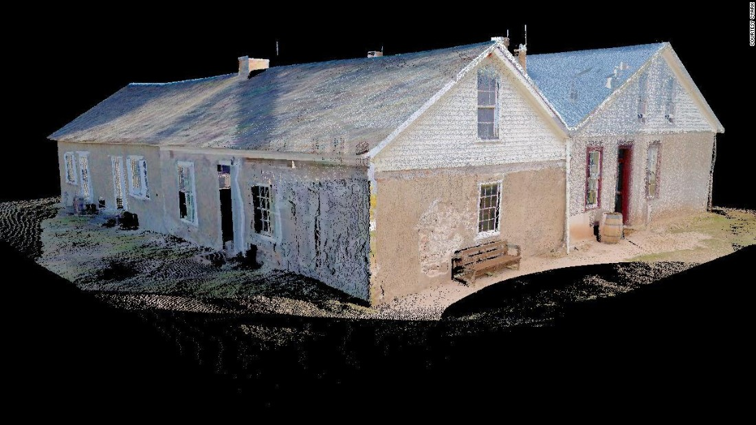 Perspective of the Sutler's Store at Fort Laramie taken from the south, created from photo-textured laser scan data.