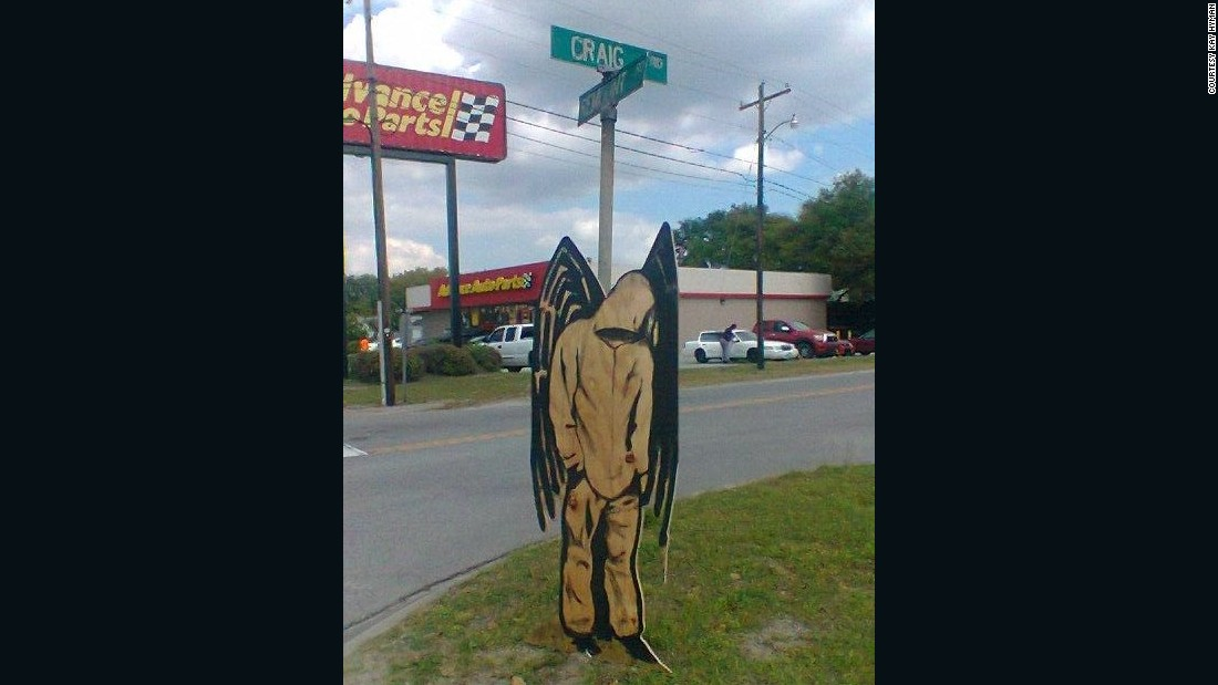 "A <a href=""https://twitter.com/Eyeballartshows/status/585570541874106369"" target=""_blank"">hooded angel</a> with black wings appeared near the spot where Walter Scott was shot and killed by a police officer Saturday in North Charleston, South Carolina. It was created by local artist Phillip Hyman on Tuesday."