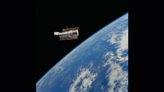 """The Hubble Space Telescope was launched April 24, 1990, from Kennedy Space Center, Florida, aboard the space shuttle Discovery. NASA calls Hubble the """"most significant advance in astronomy since Galileo's telescope."""" Hubble has given us new, better views of our solar system and has taken us hundreds of light years away to the edge of the universe."""