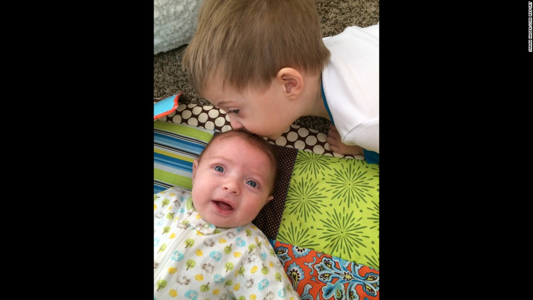 """The first few days he would cry and scream, 'I don't want Mommy to hold baby Brody!' He still has his moments, but he's accepted that Brody is sticking around."" -- Sarah Hager, Louisville, Kentucky"