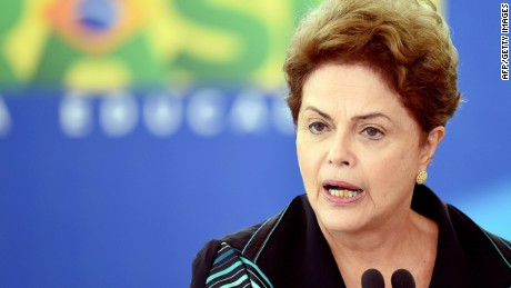 Brazilian President Dilma Rousseff delivers a speech during the inauguration of Renato Janine Ribeiro as Brazil's new Education minister, at Planalto Palace in Brasilia, on April 6, 2015. Ribeiro took up the post replacing Cid Gomes. AFP PHOTO / EVARISTO SAEVARISTO SA/AFP/Getty Images
