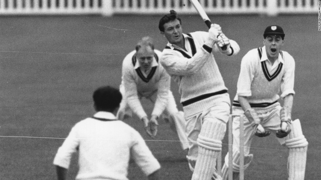 Richie Benaud of Australia hits out to leg during a cricket match on May 3, 1956.