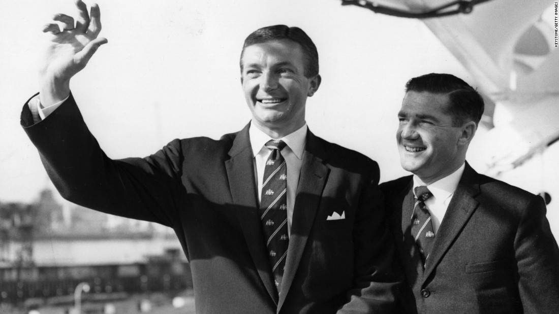 Richie Benaud and Neil Harvey (right), captain and vice captain respectively, of the 1961 Australian Team, on board the SS Himalaya as it sails into Tilbury.