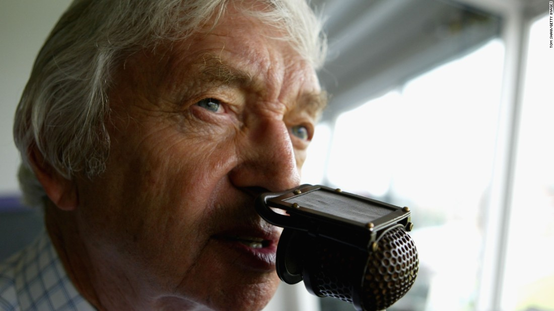 Legendary Australian cricketer and commentator Richie Benaud commentates in cricket match  between England and the West Indies on August 13, 2004 in Manchester, England.
