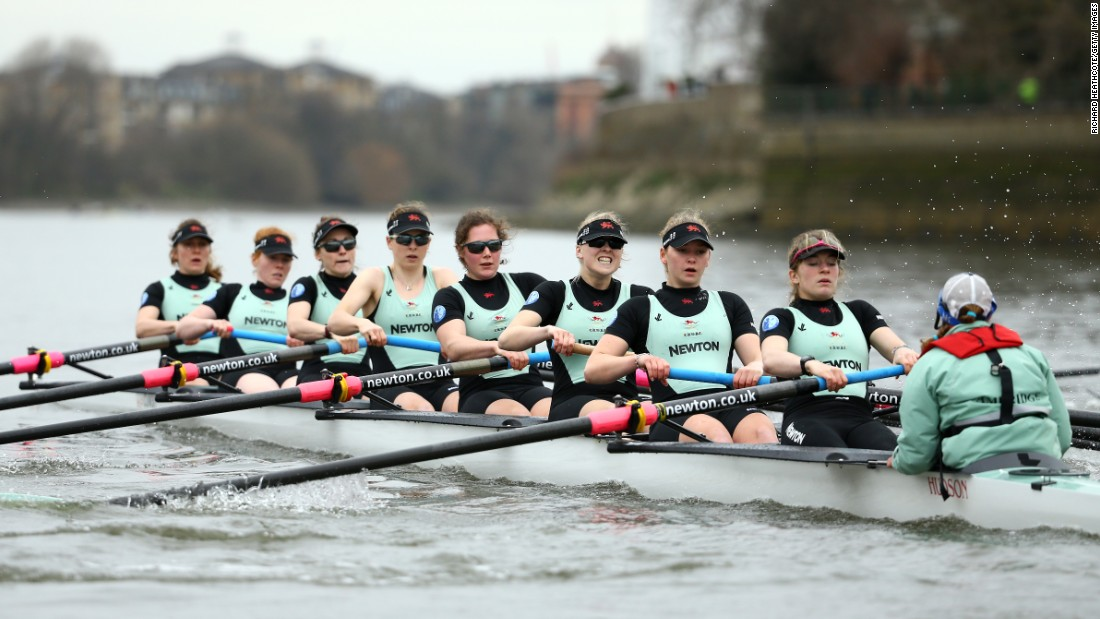 Cambridge University's women out practicing on the Thames ahead of Saturday's race. The first Women's Boat Race was held in 1927.
