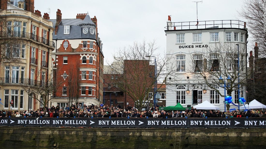 The event takes place annually around Easter time. Despite frequently glum weather, the race always attracts tens of thousands of spectators along the route with many congregating at the start in Putney (pictured) on the south bank of the Thames.