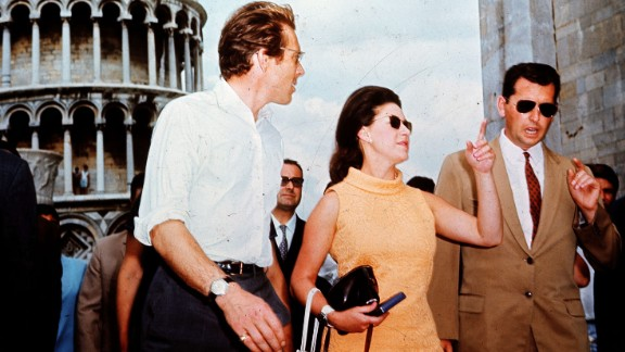 """Princess Margaret, seen here touring Pisa, Italy, with her then-husband, the photographer Lord Snowdon, in 1968, was the """"spare"""" to current Queen Elizabeth II; she died in 2002."""