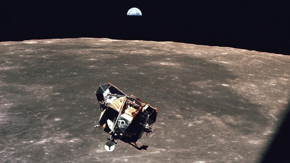 The Eagle lunar module of Apollo 11 ascends from the surface of Earth's moon in 1969. The presence of water on the moon has been confirmed by scientists.