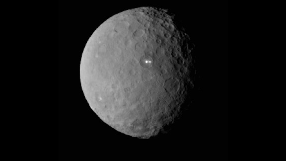 Dwarf planet Ceres, composed of rock and ice, is the largest object in the asteroid belt.