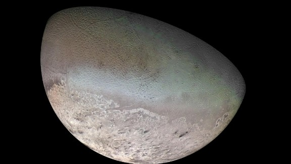 Neptune's largest moon, Triton, is so cold that its surface is composed mainly of nitrogen ice.