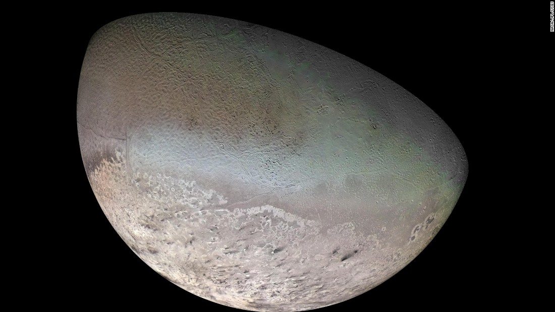Neptune's largest moon, Triton, is so cold that its surface is composed mainly of nitrogen ice. <br />